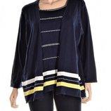 Пуловер - кардиган темно-синий с отделкой в виде ажурных полос и жемчуженок 2х usa 60-62 рр