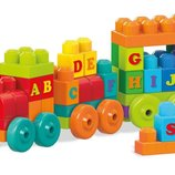 Mega Bloks Конструктор Поезд алфавит 60 дет. First Builders ABC Learning Train Building Set DXH35