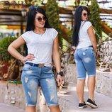 Бриджи джинс с ремнем 50-58 размер