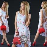 Легкое шифоновое платье с розами. Размеры S-L, 48-50.