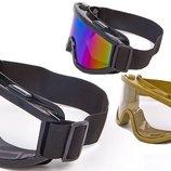 Мотоочки/очки тактические MS 908 3 цвета, акрил пластик