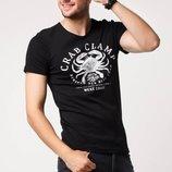 в наличии фирменная мужская футболка De Facto насыщенно черного цвета с надписью Crab cramp