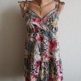 Хлопковая блуза-туника в цветочный принт george, 14 размер