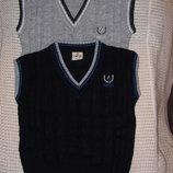 Жилет - Эмблема - серый, синий рост 104