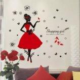 Интерьерная наклейка Девушка в красном