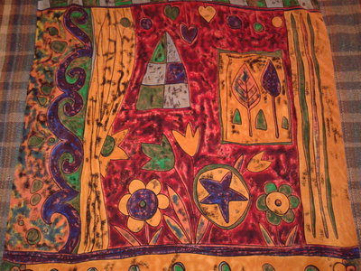 Оригинальный винтажный шелковый платок, 100 % шёлк, 89 см х 83 см
