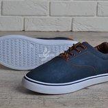 Кеды мужские слипоны на шнуровке Navi темно синие