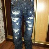 мужские джинсы тёмно синего цвета рваные Lee Coper