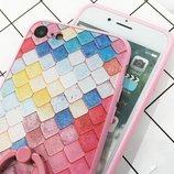 Чехол разноцветная чешуя розовый ободок силикон IPhone 6/6s/7/7S
