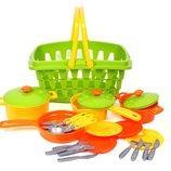 Набор посуды 24 предмета в корзине Технок 4456 игрушечная посудка