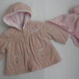 Вельветовая курточка и шапуля на 3-6-9 мес,62-70 см,Junior Next.