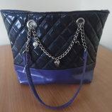 сумка сумочка фиолетовая серая лаковая девочке золотая детская Girl2Girl герл2герл новая без бирки