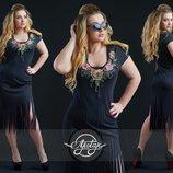 Перфорированное платье с лапшой. Размеры 50, 52, 54.
