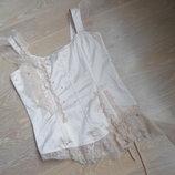 Майка блузка женская 40 р H&M НМ атлас бежевая кружево оригинал бренд