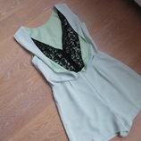 Платье 38 р 10 UK TOPSHOP Топшоп Сарафан салатовое светлое ченое кружево шорты