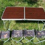 Стол,раскладной,туристический,с,4,четырьмя,стульями,в,комплекте,рыбацкий,универсальный,компактный