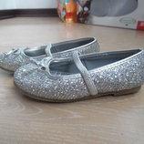 Туфли балетки девочке 10 р стелька 15,8 см Lilley Sparkle серебрянные блестки чешуя наядные оригинал