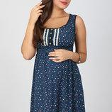 Легкий сарафан для беременных и кормящих Bianka, мелкий цветочек на синем
