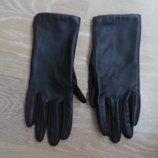 Перчатки Isotoner кожанные ткань женские коричневые новые