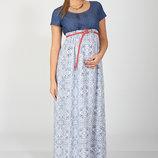 Длинное платье для беременных и кормления Milana, синий джинс с штапелем синие цветы на белом