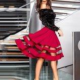 Платье Из Бархата И Габардина