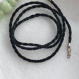Шнурок серебряный кожаный плетеный 4007