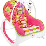 Fisher-Price Кресло-Качалка с вибрацией шезлонг Цветочные конфетти Infant-to-Toddler Rocker Floral C