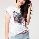 в наличии женская футболка De Facto насыщенно белого цвета с рисунком на груди