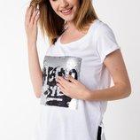 в наличии женская футболка De Facto насыщенно белого цвета с надписью на груди
