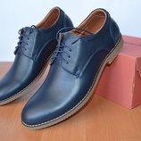 кожаные мужские туфли.синие