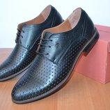 Летние кожаные туфли.перфорация
