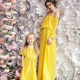 Family look комплект шикарное платье макси шифон цвета мама дочка