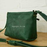 Кожа. Женская сумка ручной работы. Кожаный клатч. Кожаная зеленая сумочка