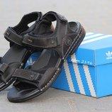Босоножки мужские Adidas black, кожа