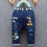 Утеплённые джинсы на синтепоне рост 70-80