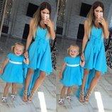 Family look классные платья шлейф мама дочка цвета