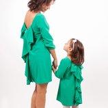 Family look платья с красивой спинкой мама дочка цвета