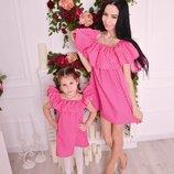 Family look летние платья волан мама дочка цвета