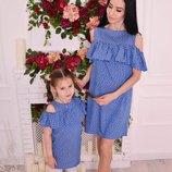 Family look летние платья плечики мама дочка