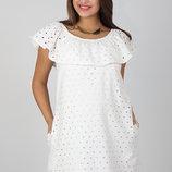Ажурное хлопковое платье для беременных и кормящих, молочное