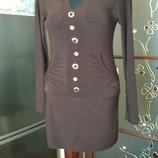 Платье-Туника коричневое 44-46р.