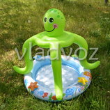 Детский надувной бассейн с навесом осьминог Intex 57115 подарок ремкомплект