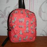 Детский красный рюкзак с осликами
