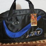 Спортиная дорожная сумка с красной, салатовой и синей полосой