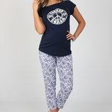 Летние брюки для беременных, длина 7/8, синие пейсли