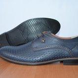 Кожаные мужские туфли.летние.перфорированные