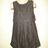 Next Черное нарядное гипюровое платье Некст на 7 лет