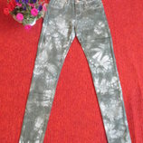 Джинсы скинни серые женские, мраморная расветка, хаки, 25-29 рр.