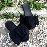 Скидки На Последние Размеры Шлепки с бантом из хлопка на черной подошве