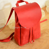 Кожа. Ручная работа. Кожаный красный женский рюкзак, рюкзачок